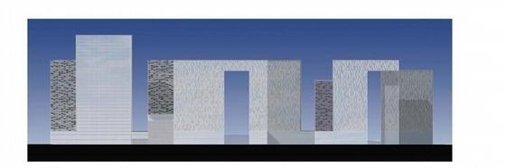 130米超高层城市综合体设计立面图