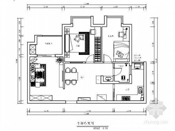 繁华市中心现代简约两居室装修施工图(含效果)
