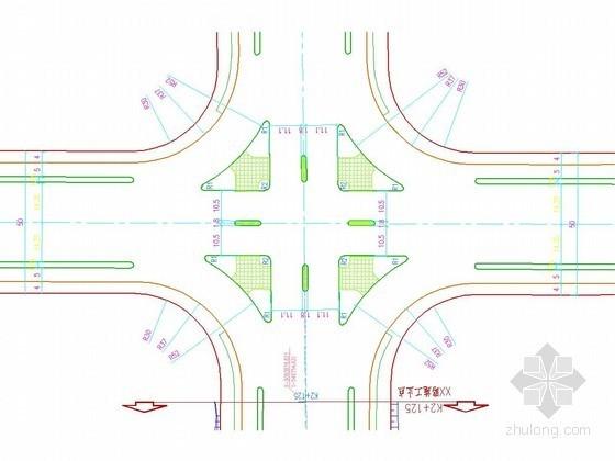 双向六车道市政公路整段平面设计图(路口 安全岛)
