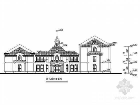 欧式风格3层幼儿园建筑施工图