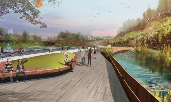 [山西]滨河崖壁生态立体化湿地公园景观设计方案-水畔漫步景观效果图