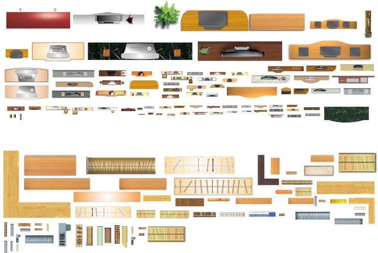室内设计常用PSD彩色平面图块—衣柜电视柜PSD图块