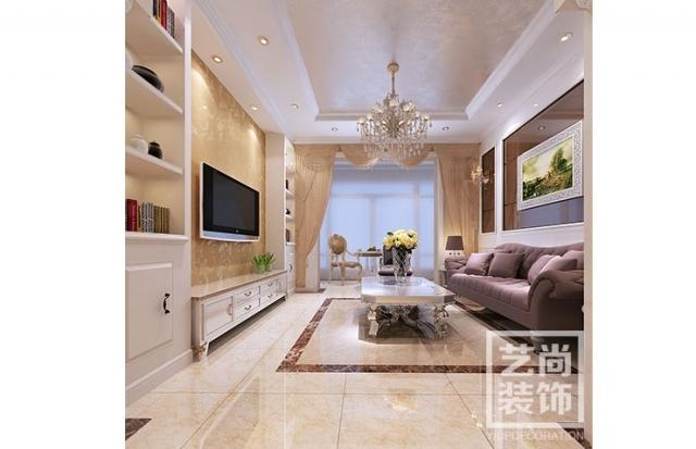 紫檀华都89.64平方两室两厅简欧风格装修效果图
