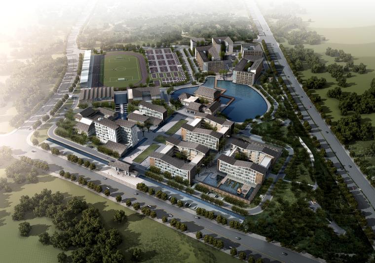 [重庆]古典山水风格大型小学校园总规划及单体建筑设计文本(77张JPG)