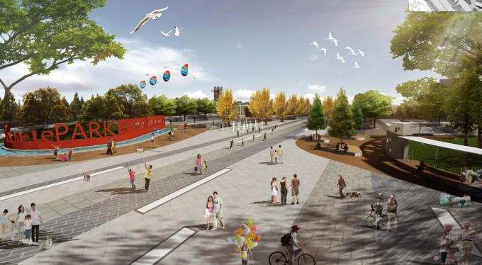 [山西]滨河崖壁生态立体化湿地公园景观设计方案-运动广场景观效果图