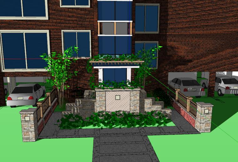 小区入口景观设计模型设计(SU模型)