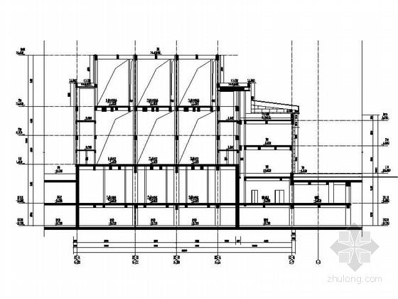 [上海]高层玻璃幕墙框架结构办公商业综合体建筑施工图(600多张图-高层玻璃幕墙框架结构办公商业综合体建筑剖面图