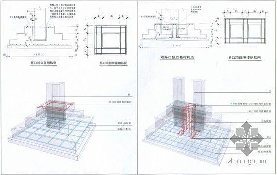 [三维平法]11G101系列三维立体平法结构识图与钢筋算量高清图解教程(附图丰富274页)-杯口和双杯口独立基础构造