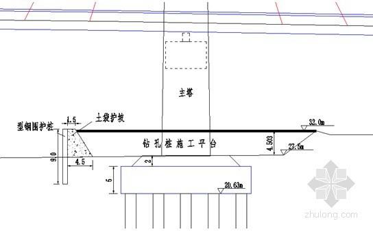 索塔钻孔桩施工立面布置图