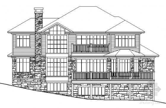 某三层坡地别墅建筑方案图