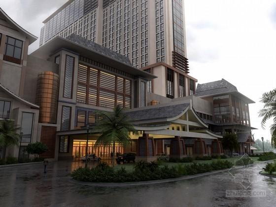 古色古香星级酒店3d模型下载