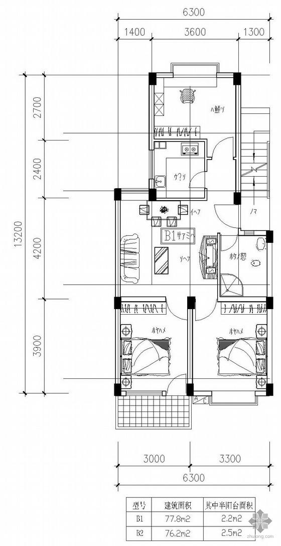 板式多层一梯两户户型图(78/76)