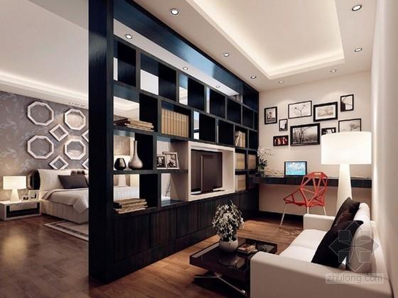 现代简约风格卧室带书房3d模型下载