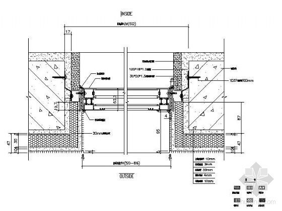 U型铝方通吊顶节点大样图资料下载-隔热铝窗安装节点图