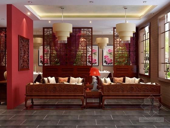 中式风格餐厅包厢3d模型下载