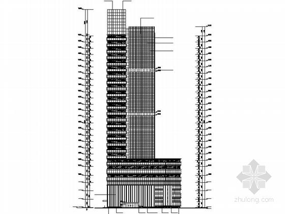 现代风格高层办公楼建筑立面图
