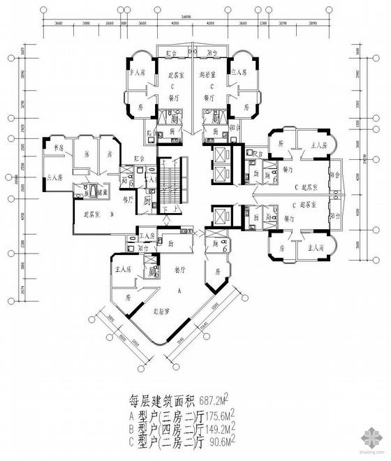 塔式高层一梯三户户型图(176/149/91)