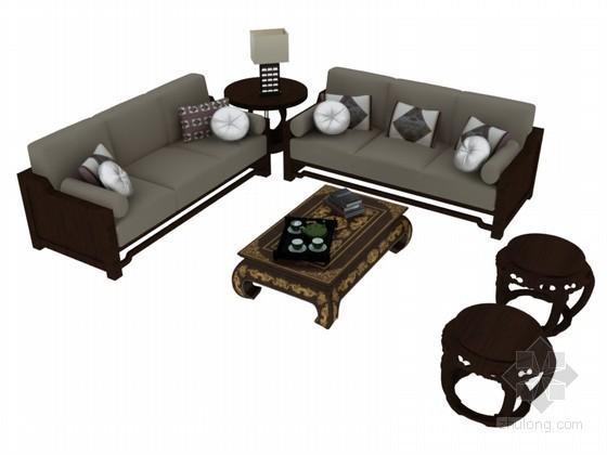 复古沙发3D模型下载