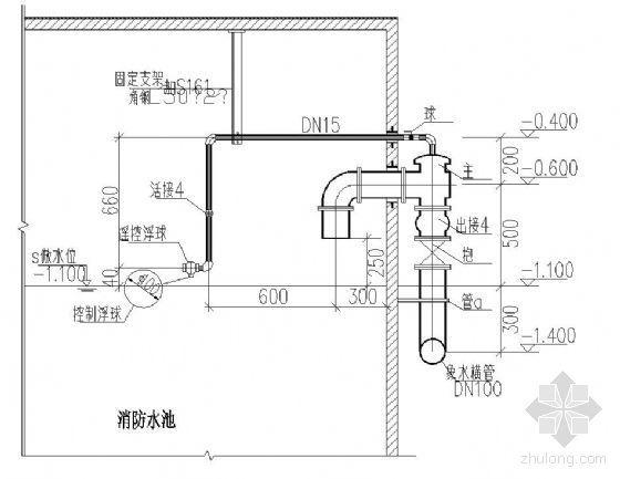 消防水池活塞式液压水位控制阀安装示意图