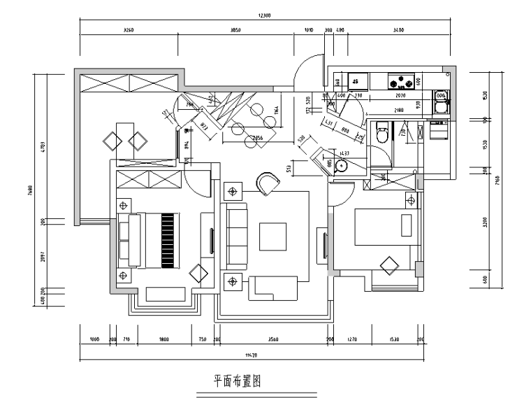 [江苏]常熟老街二居室住宅设计施工图(附效果图)