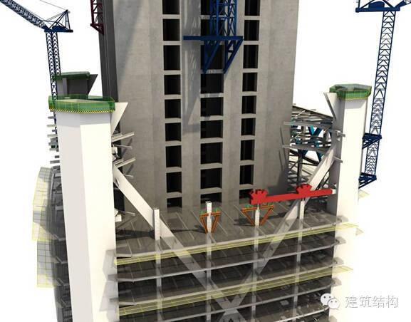 建筑结构丨超高层建筑钢结构施工流程三维效果图
