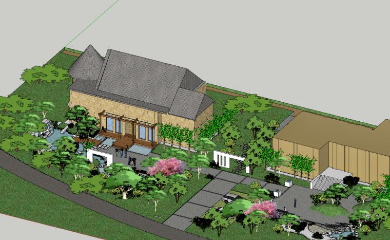 乡村美丽庭院景观设计模型(SU模型)