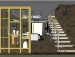 现代风格跃层户型室内设计|SU模型