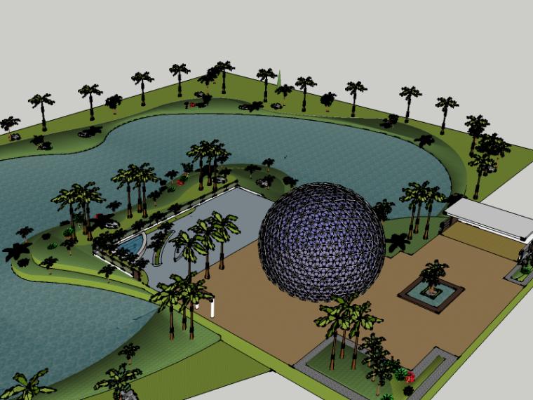滨湖公园景观su模型(广场雕塑)