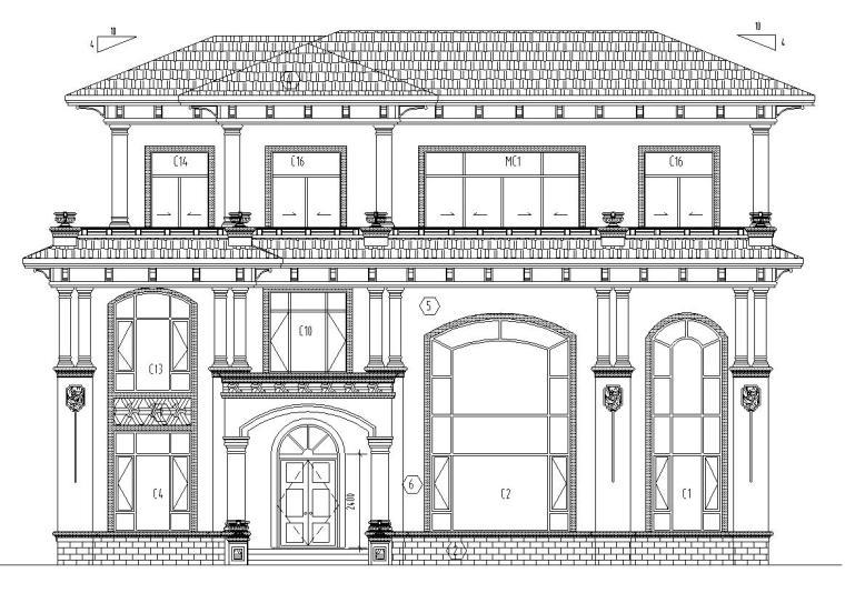 框架结构单家独院式别墅建筑设计(CAD+效果图)