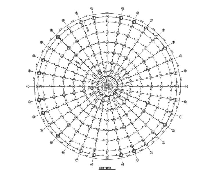 四角锥螺栓球网架结构施工图含计算书(CAD、11张)