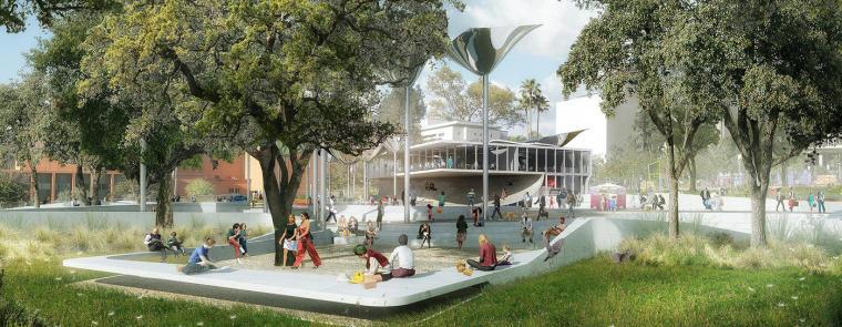 """洛杉矶市中心""""FAB""""新型公园的方案_2"""