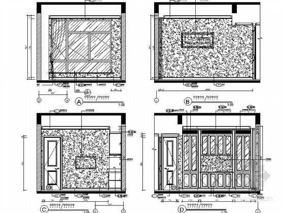 [成都]北美风格三层别墅样板间室内装修图(含方案文本)书房立面