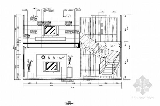 [广州]山水之间新中式风格三层别墅装修图(含效果图) 客厅立面图