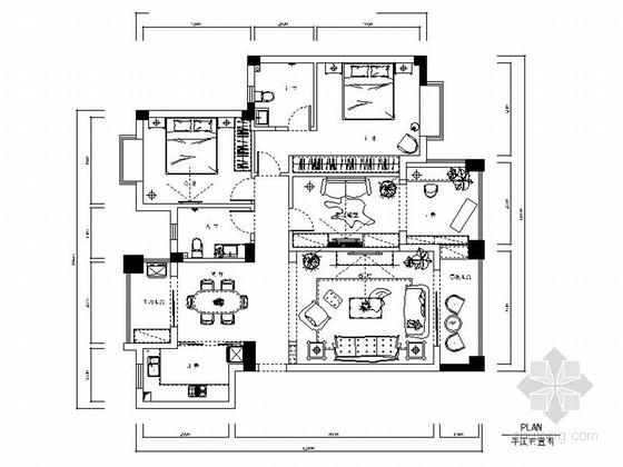 温馨简约现代风格三居室样板间室内装修施工图(含效果)