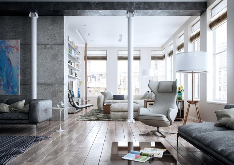 又酷又简洁的现代客厅_3