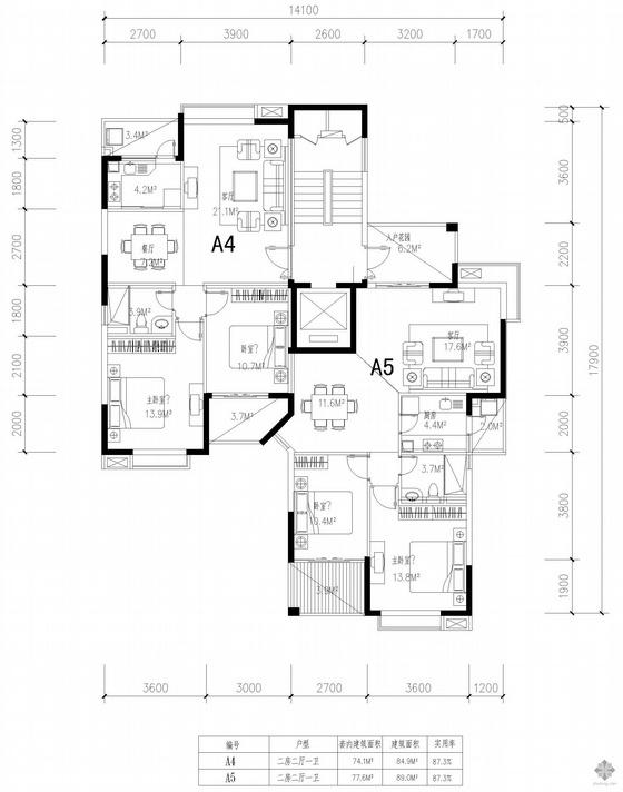 塔式高层一梯两户户型图(85/89)
