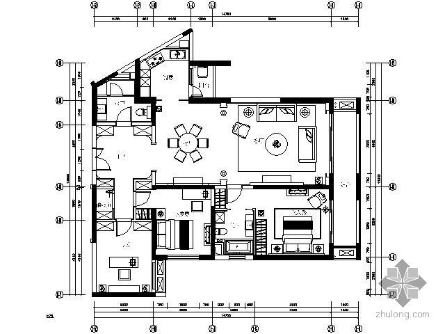 欧式华丽艺术样板房三居室施工图(含效果)
