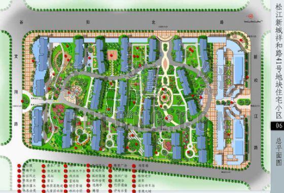 上海某住宅区绿化设计总平面图