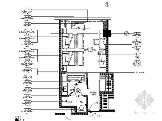 [广州]知名豪华酒店高档双人间装修施工图