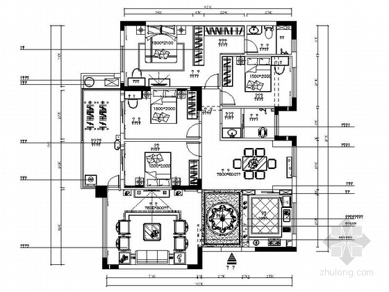 [南宁]欧陆风格三居室室内装修图(含效果)
