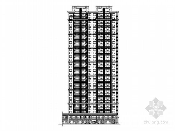 现代高层住宅楼带底商建筑施工图