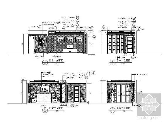 欧式古典卧室二立面图