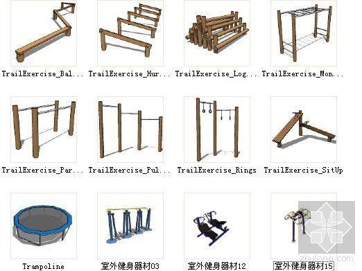 12种健身器材sketchup模型