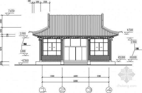宋式单层内框架结构仿古建筑施工图