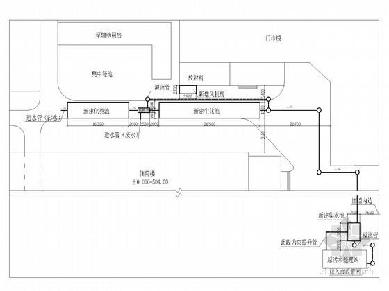 医院污水处理工程改造竣工图(水解酸化 生物接触氧化 二氧化氯)