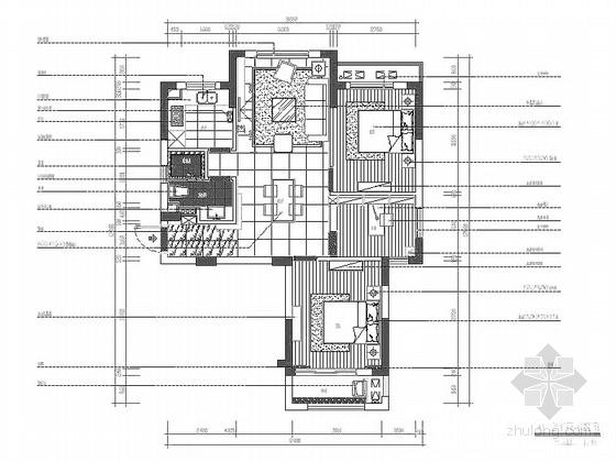 [杭州]现代简约风格三室两厅样板间室内装修图(含效果)