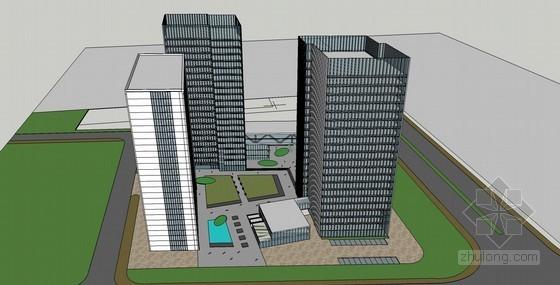 商务办公建筑SketchUp模型下载-商务办公建筑