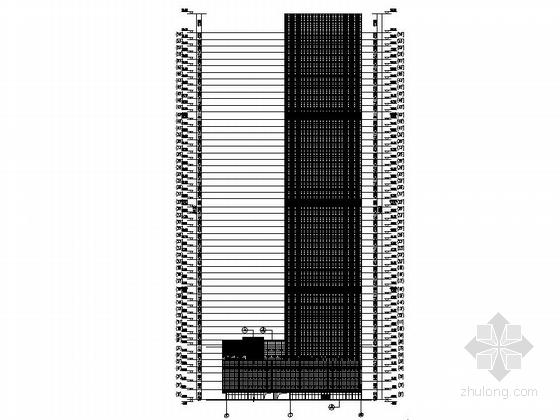 [天津]245米超高层玻璃幕墙金融大厦设计施工图-245米超高层玻璃幕墙金融大厦立面图