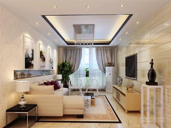 中式复式楼客厅3D模型下载