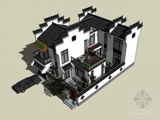 徽派中式别墅住宅sketchup模型